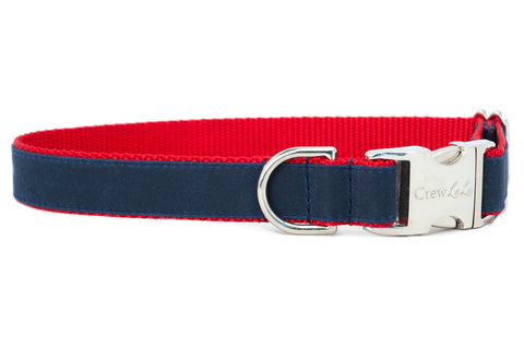 Navy on Red Waxed Cotton Dog Collar