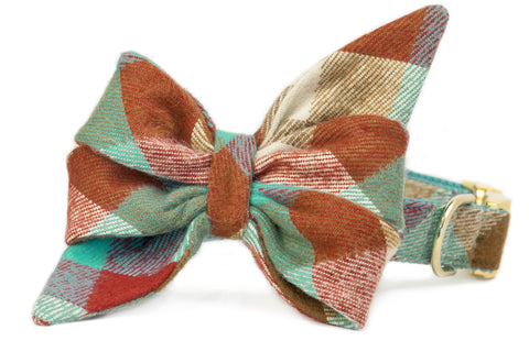 Park Circle Flannel Plaid Belle Bow Dog Collar