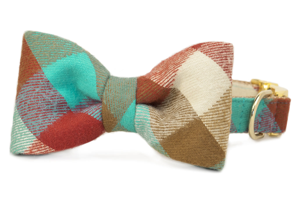 Park Circle Flannel Plaid Bow Tie Dog Collar