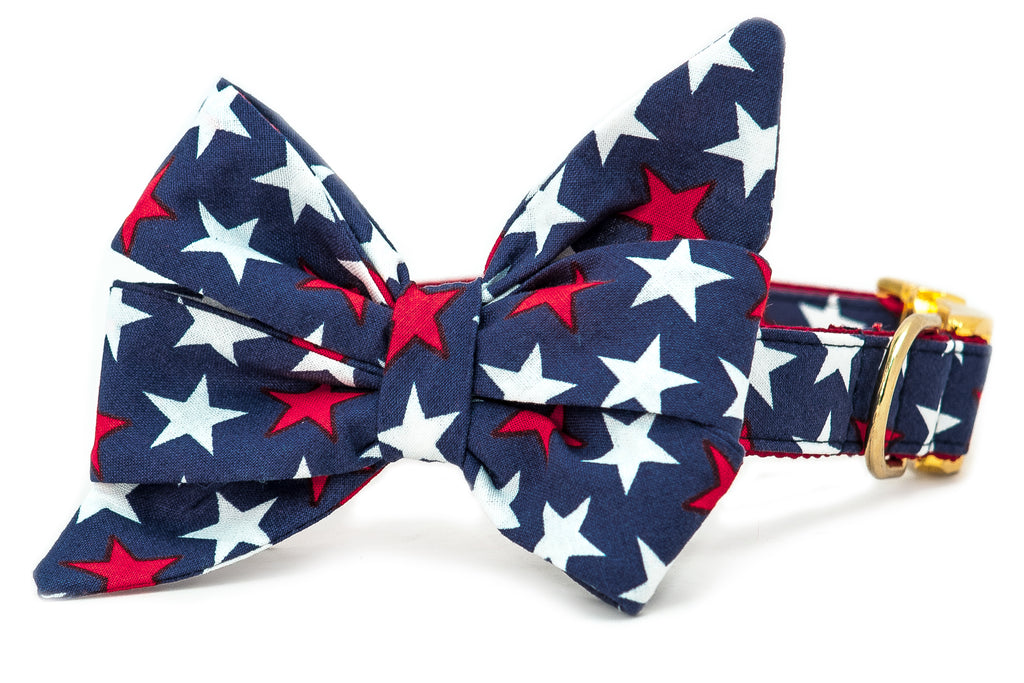 Patriotic Stars Belle Bow Dog Collar