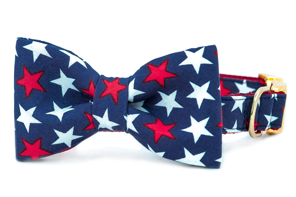 Patriotic Stars Bow Tie Dog Collar