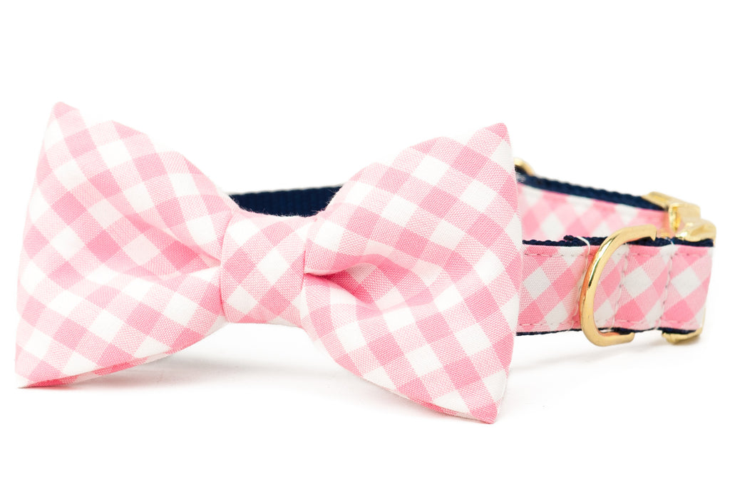 Pink Picnic Plaid Bow Tie Dog Collar