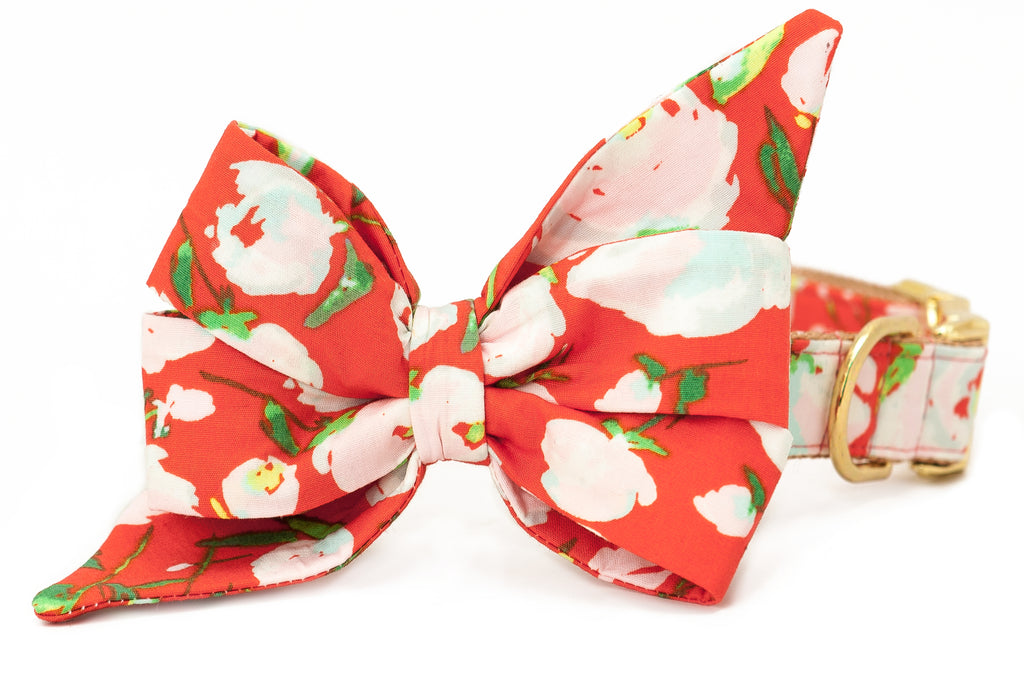 Pretty Peonies Belle Bow Dog Collar