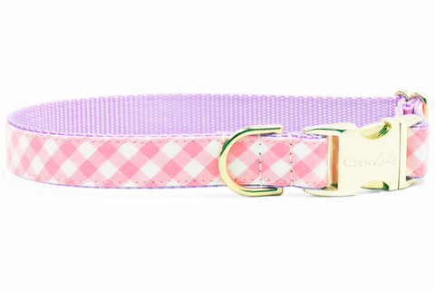 Pink Picnic Plaid on Lavender Dog Collar