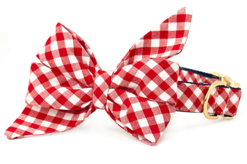 Crew LaLa Red Picnic Plaid Belle Bow Dog Collar
