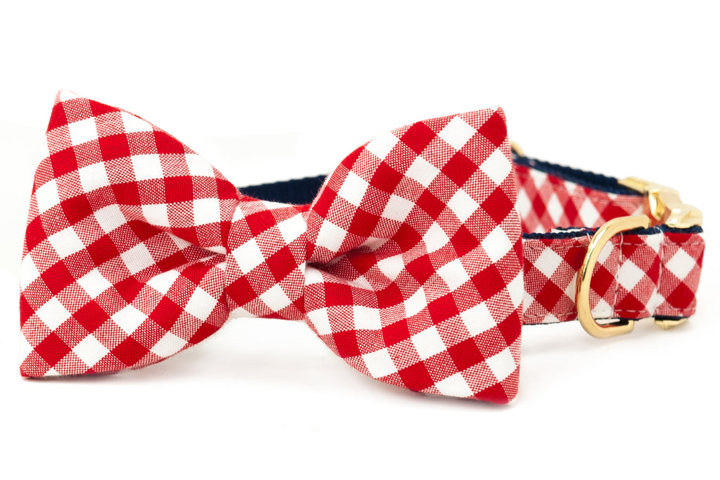 Crew LaLa Red Picnic Plaid Bow Tie Dog Collar