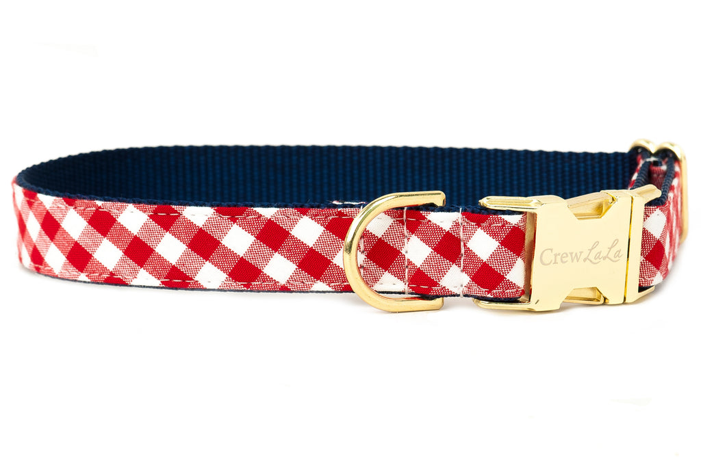 Crew LaLa Red Picnic Plaid Dog Collar