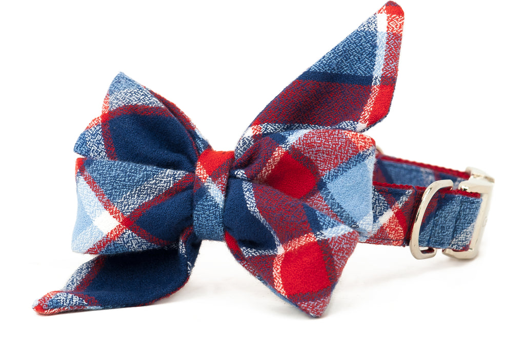 Seaside Flannel Belle Bow Dog Collar