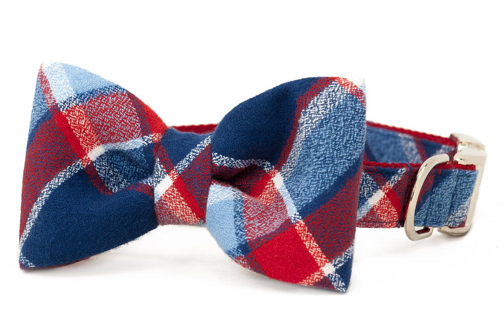 Seaside Flannel Bow Tie Dog Collar