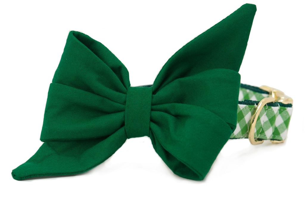 St. Patrick's Day Picnic Plaid Belle Bow™ Dog Collar