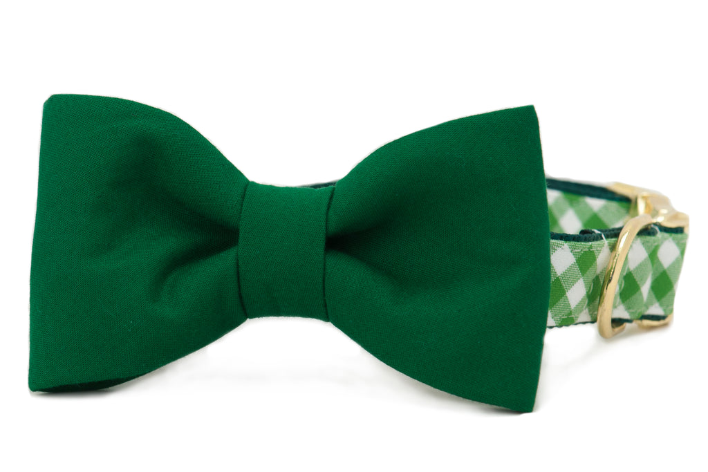 St. Patrick's Day Picnic Plaid Bow Tie Dog Collar