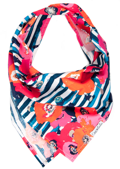 Striped Poppies Dog Bandana