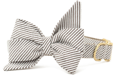 Taupe Seersucker Belle Bow Collar