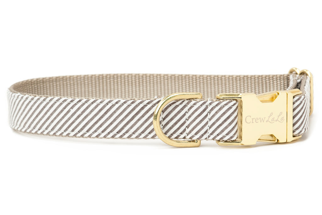 Taupe Seersucker Dog Collar