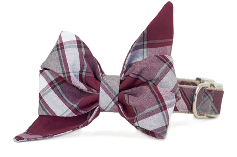 Wentworth Plaid Belle Bow Dog Collar