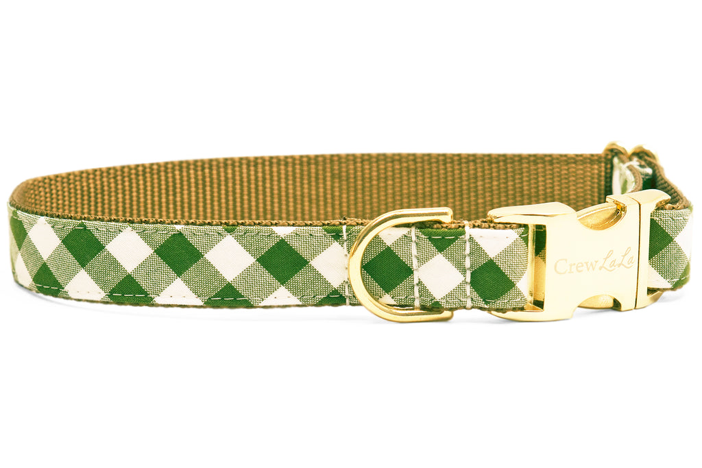Avocado Picnic Plaid Dog Collar