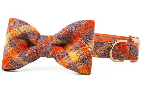 Avondale Flannel Plaid Bow Tie Dog Collar