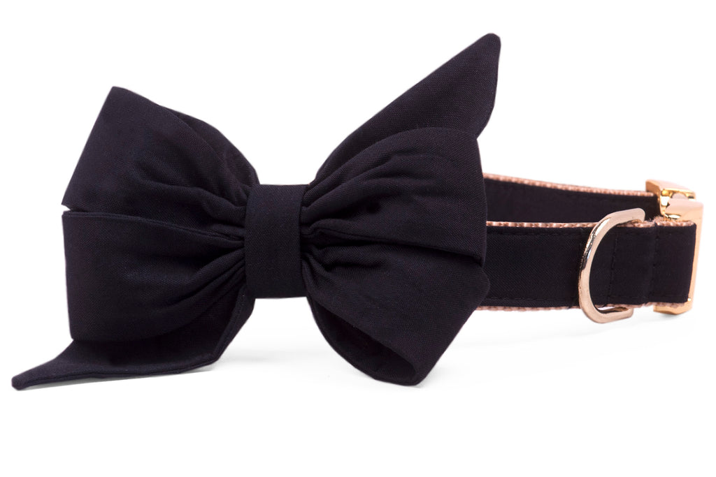 Black Onyx Belle Bow Dog Collar