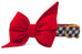 Georgia Red on Black Check Belle Bow Dog Collar