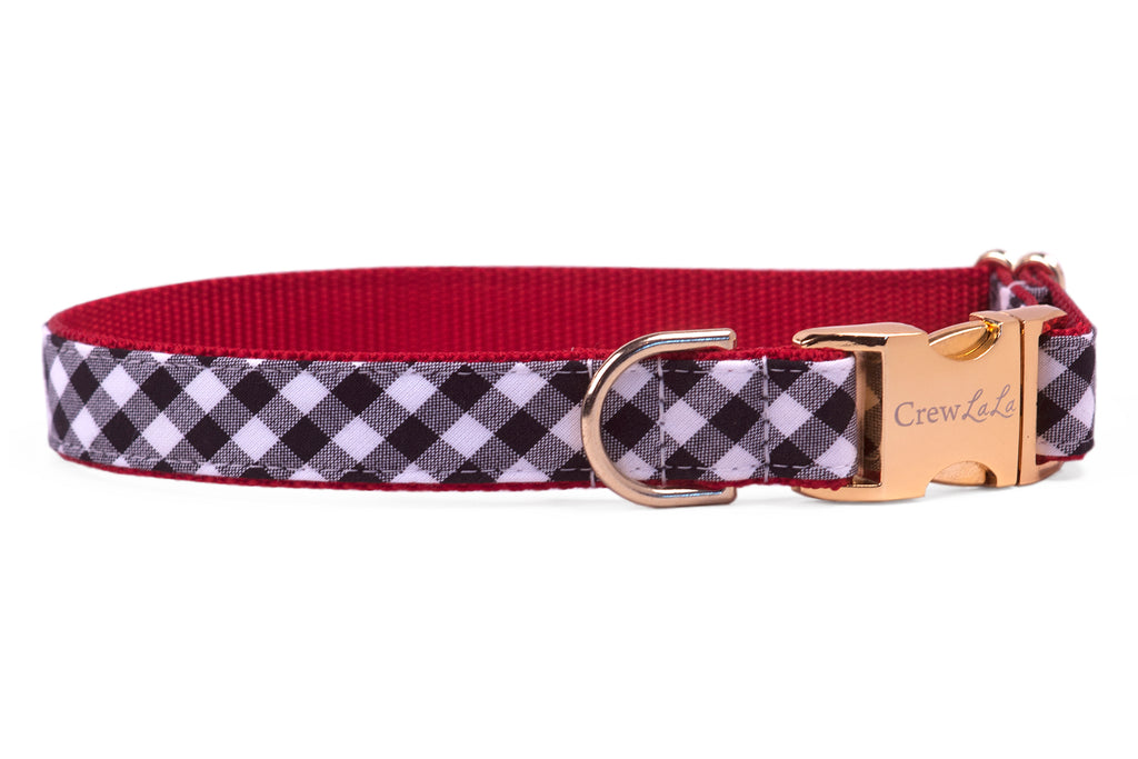 Georgia Black Check on Red Dog Collar