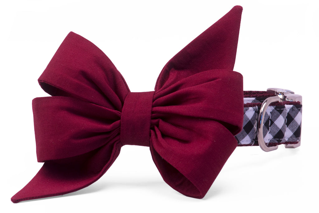 Gamecock Garnet on Black Check Belle Bow Dog Collar
