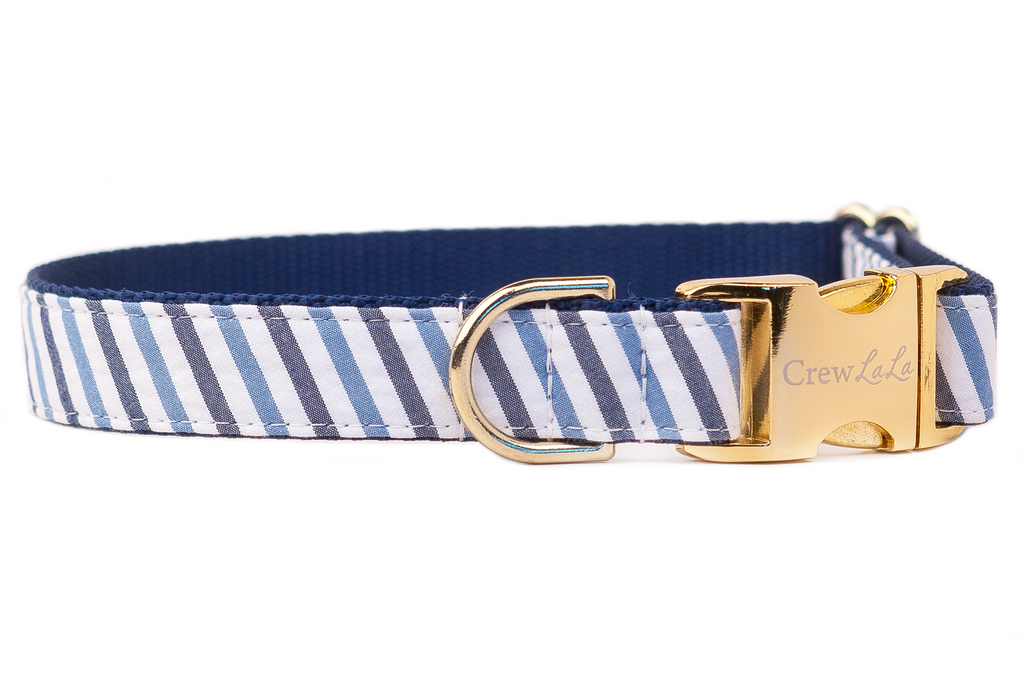 Blue & Navy Seersucker Dog Collar