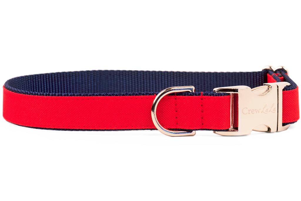 """Ruff-N-Tuff"" Cherry on Navy Everyday Dog Collar"