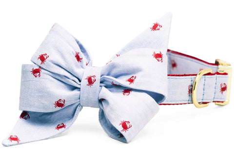 Feeling Crabby Belle Bow Dog Collar