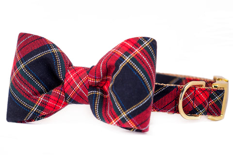 Crew's Plaid Bow Tie Dog Collar