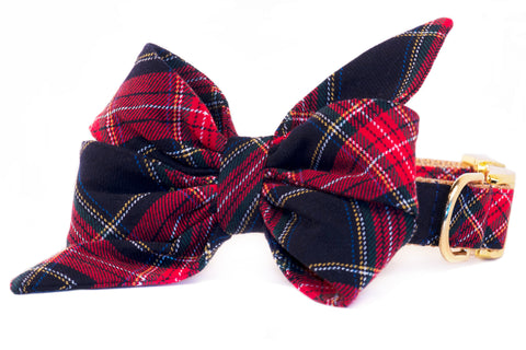 Crew's Plaid Belle Bow Dog Collar