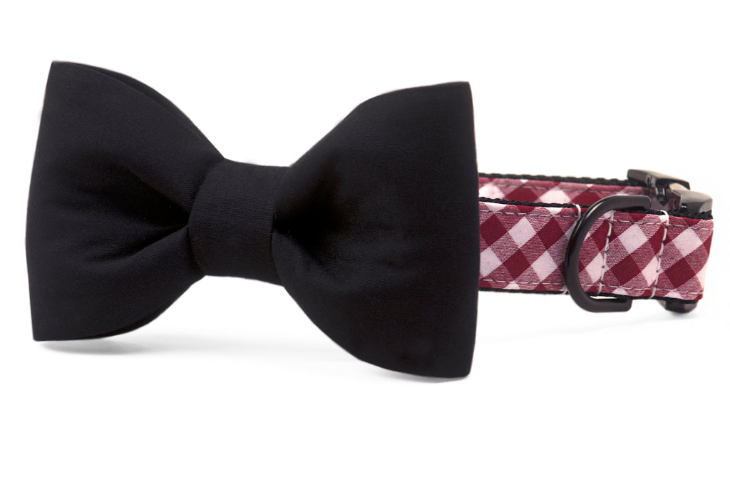 Gamecock Black on Crimson Check Bow Tie Dog Collar