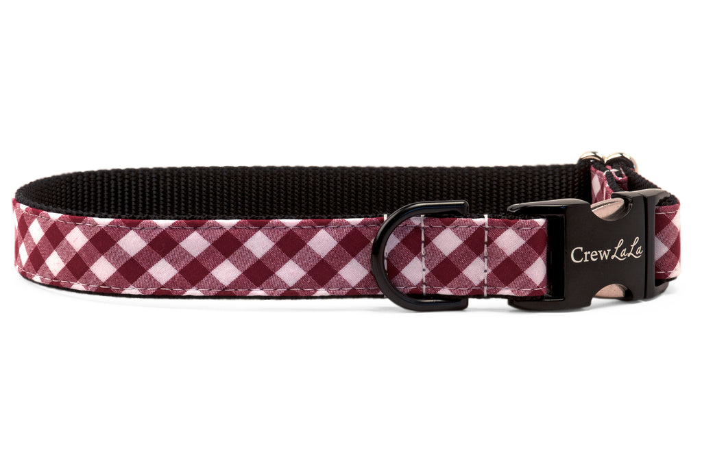 Gamecock Garnet Check on Black Dog Collar