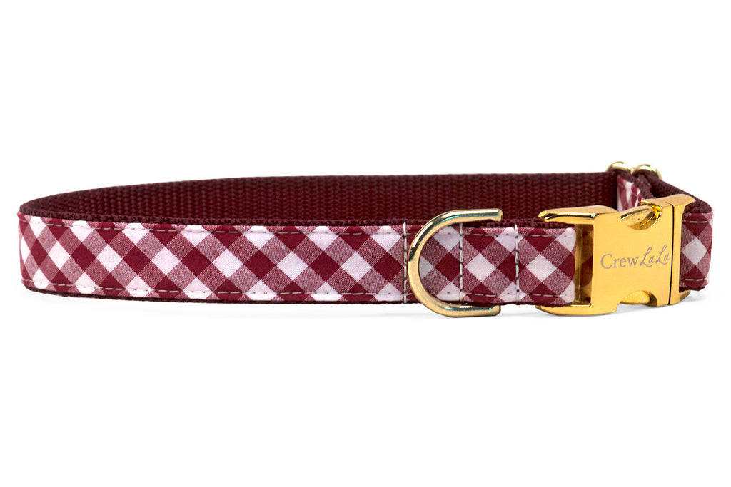 Alabama Crimson Check on Crimson Dog Collar