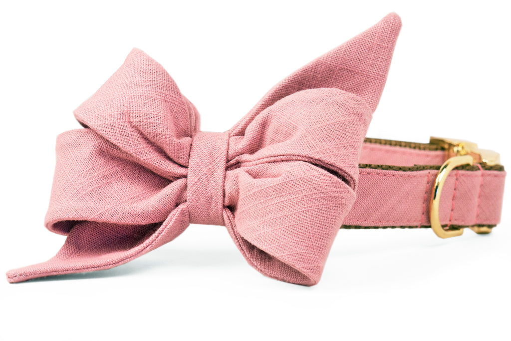 Dusty Rose Linen Belle Bow™ Dog Collar