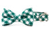 Emerald Check Bow Tie Dog Collar