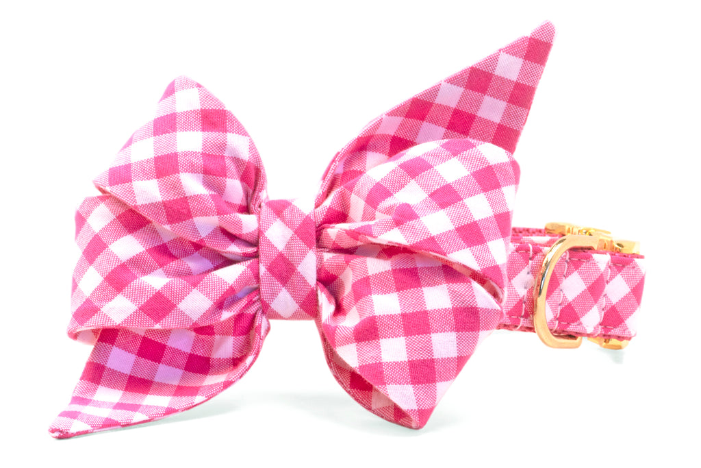Fuchsia Picnic Plaid Belle Bow™ Dog Collar