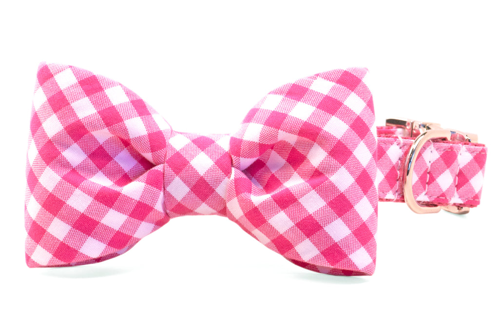 Fuchsia Picnic Plaid Bow Tie Dog Collar
