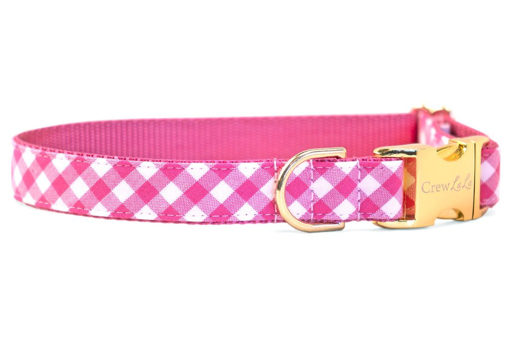 Fuchsia Picnic Plaid Dog Collar