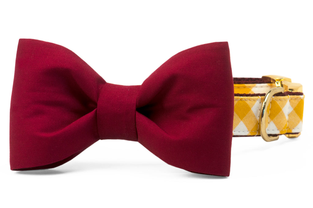 Redskins Burgundy on Gold Check Bow Tie Dog Collar