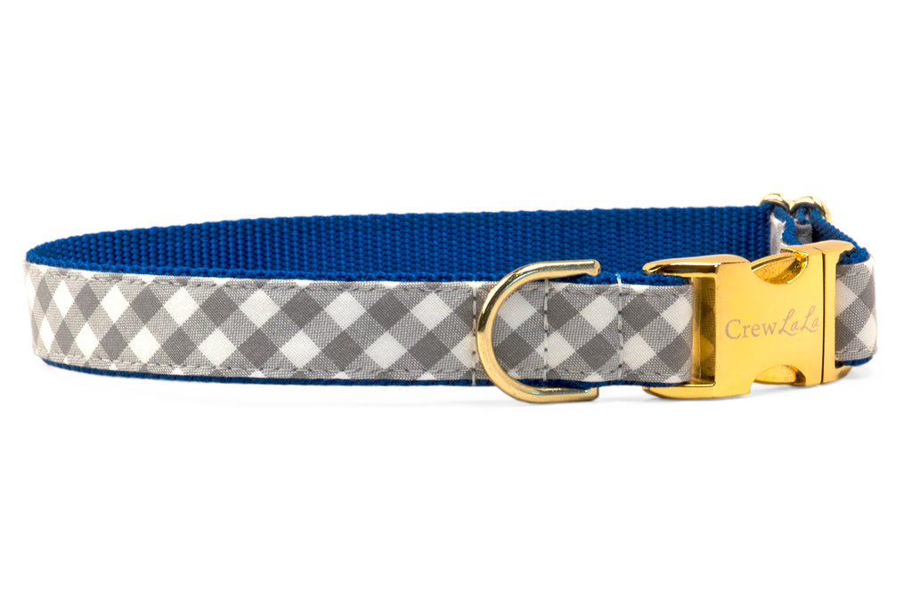 Air Force Silver Check on Blue Dog Collar