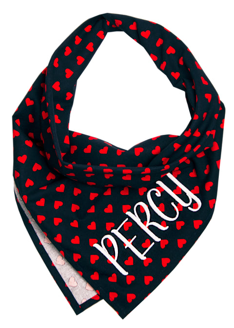 Red Hearts on Navy Dog Bandana