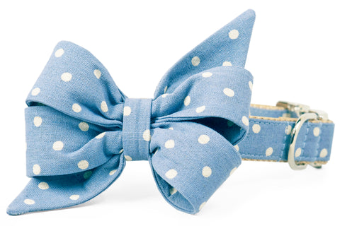 Ivory Dot on Dusty Blue Belle Bow Dog Collar