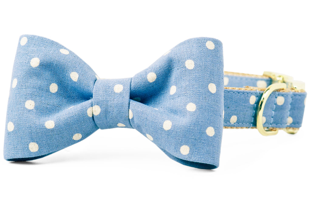 Ivory Dot on Dusty Blue Bow Tie Dog Collar