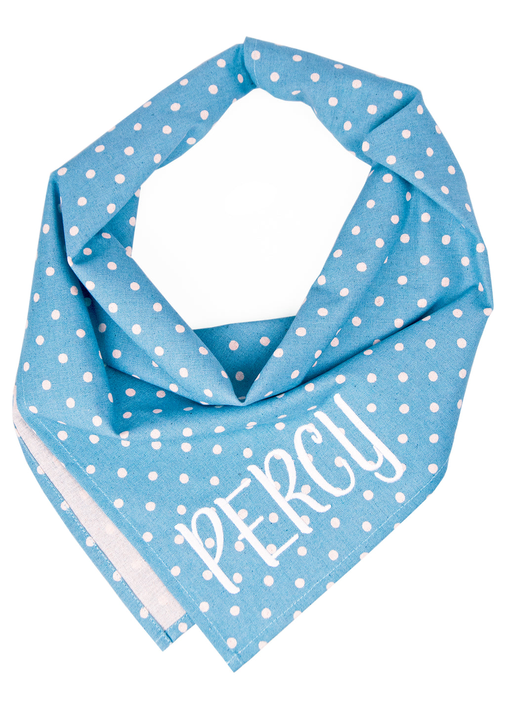 Ivory Dot on Dusty Blue Canvas Dog Bandana