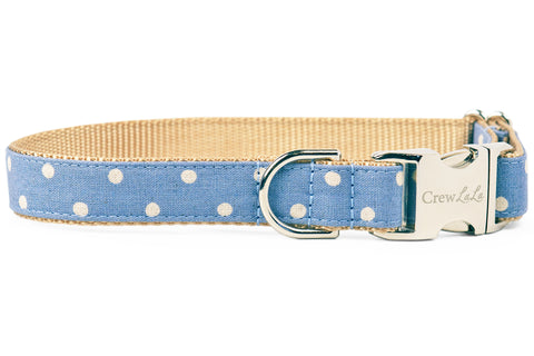 Ivory Dot on Dusty Blue Canvas Dog Collar