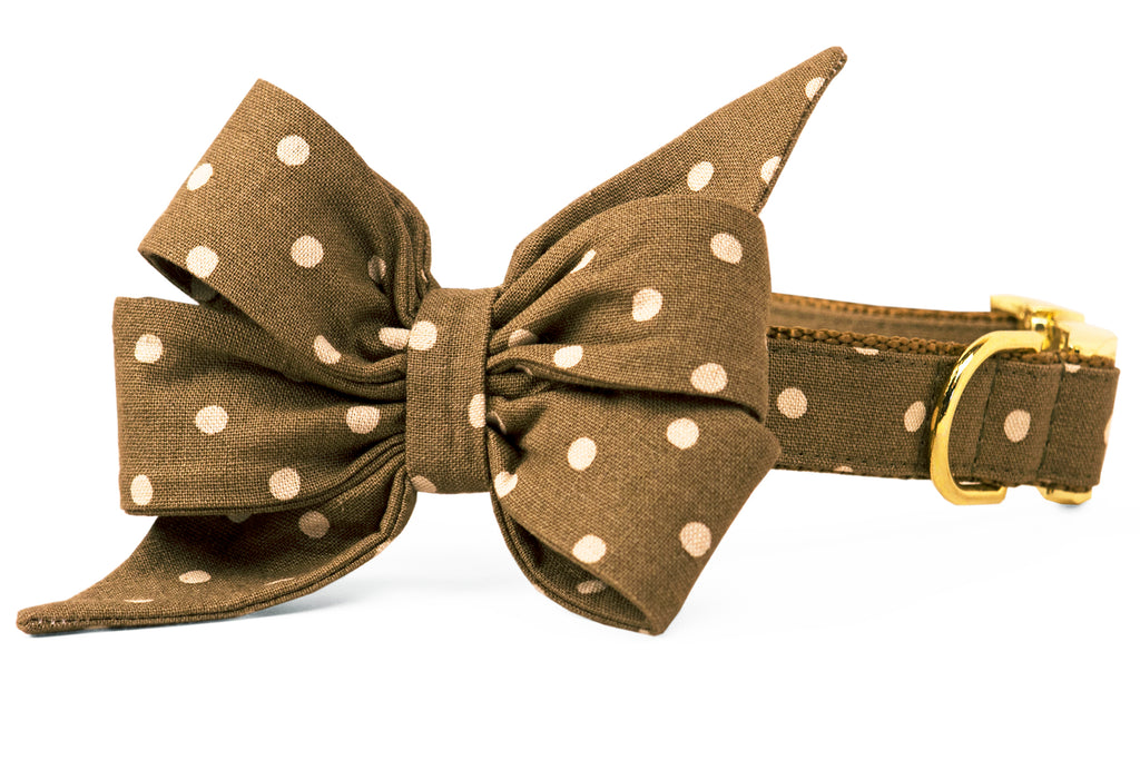 Ivory Dots on Olive Belle Bow Dog Collar