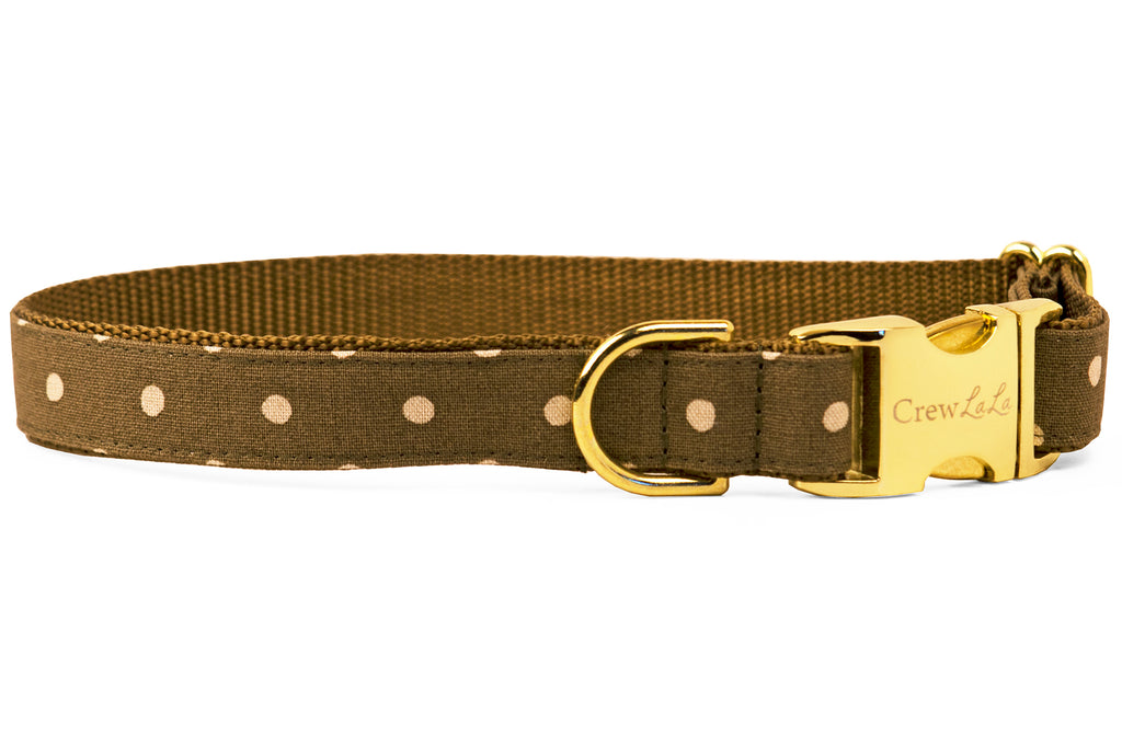 Ivory Dot on Olive Canvas Dog Collar