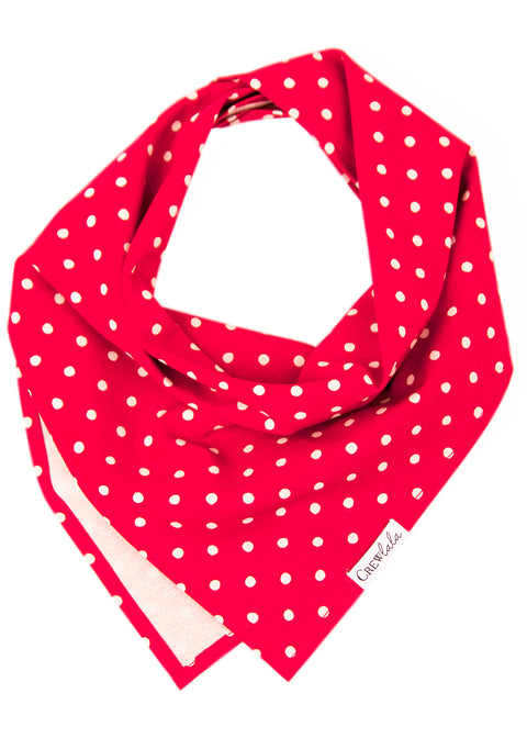 Ivory Dot on Ruby Red Canvas Dog Bandana