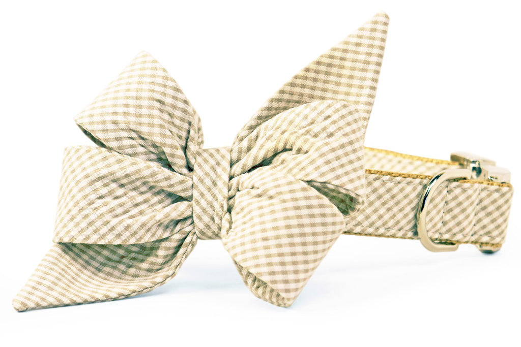 Khaki Seersucker Belle Bow Collar
