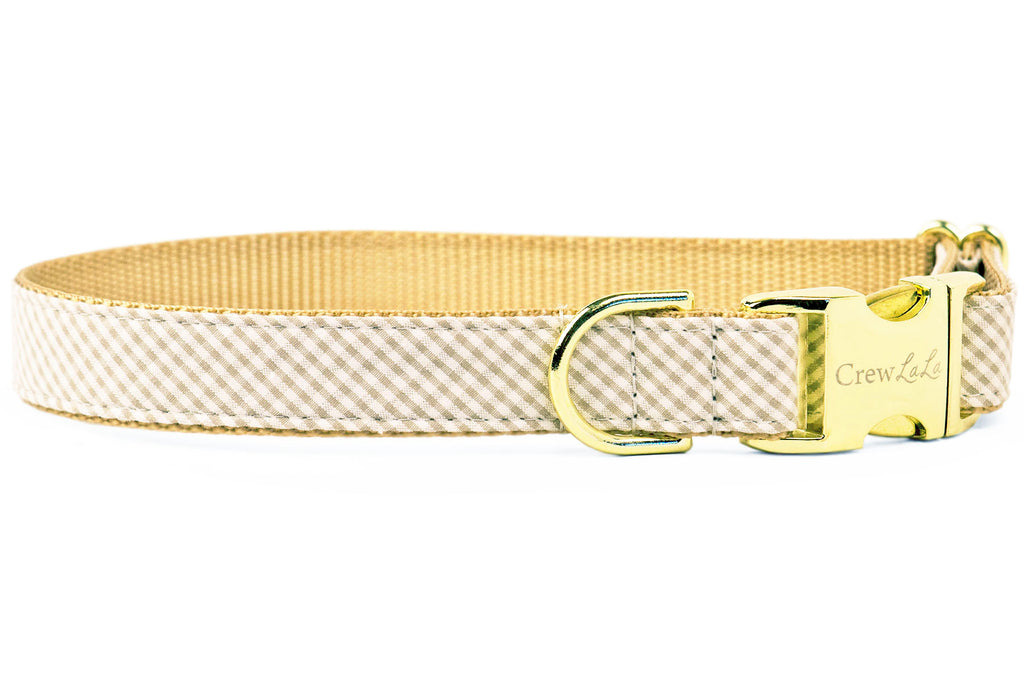 Khaki Seersucker Dog Collar